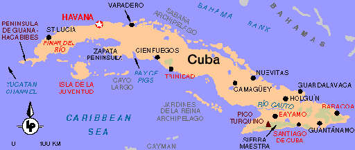 Sponsor Colins Cuba Bike Ride In Aid Of The Blind - Cuba on map